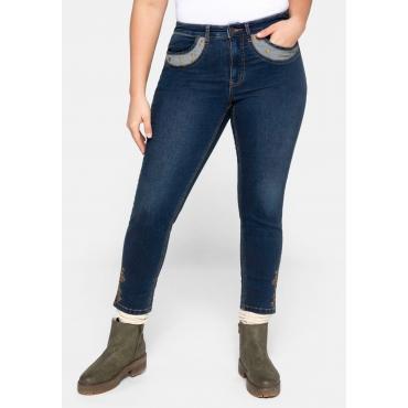 Skinny Jeans im Trachtenlook, elastisch, dark blue Denim, Gr.44-58