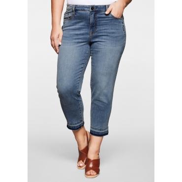 Skinny Jeans in 7/8-Länge mit Fransensaum, blue Denim, Gr.44-58