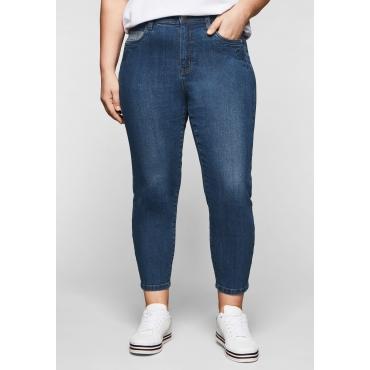 Skinny Jeans in 7/8-Länge, mit Stickerei vorn, blue Denim, Gr.44-58