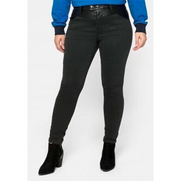 Skinny Jeans in Ankle-Länge, mit Lederoptikeinsatz, black Denim, Gr.44-58