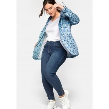 Skinny Jeans in Ankle-Länge, mit Zipper am Saum, blue Denim, Gr.44-58