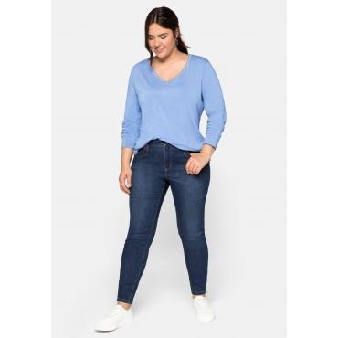 Skinny Jeans in Ankle-Länge, mit Zipper am Saum, dark blue Denim, Gr.44-58