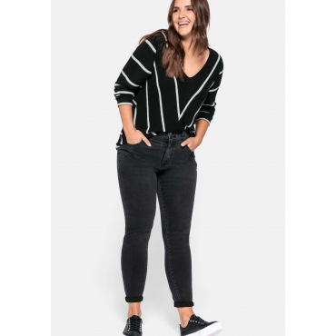 Skinny Jeans in High-Waist-Form, mit Glitzersteinen, black Denim, Gr.44-58