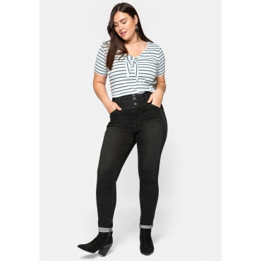 Skinny Jeans in High-Waist-Form mit Ziernähten, black Denim, Gr.44-58