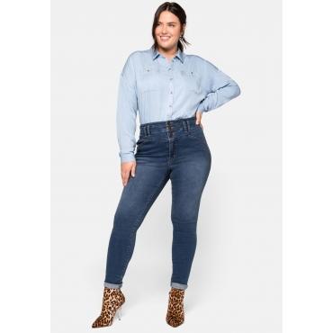 Skinny Jeans in High-Waist-Form mit Ziernähten, blue Denim, Gr.44-58