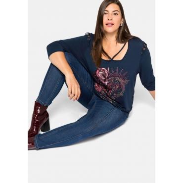 Skinny Jeans mit Biesen, in leichter Used-Waschung, dark Denim, Gr.44-58