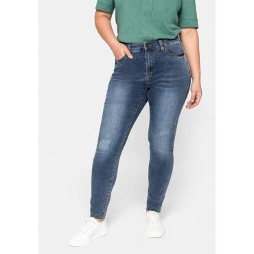Skinny Jeans mit Destroyed-Effekten und offenem Saum, blue Denim, Gr.44-58