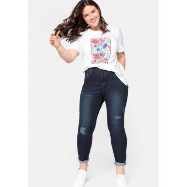 Skinny Jeans mit Destroyed-Effekten und offenem Saum, dark blue Denim, Gr.44-58