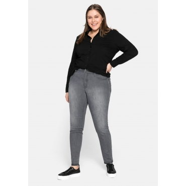 Skinny Jeans mit Farbverlauf und Fransen am Saum, grey Denim, Gr.44-58