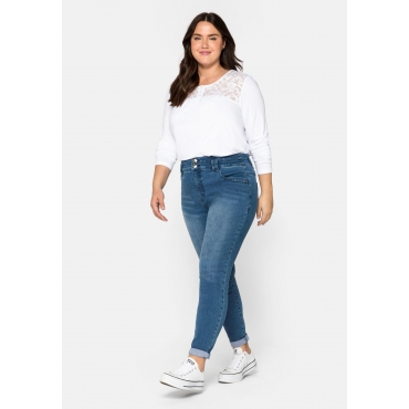 Skinny Jeans mit High-Waist-Bund, Bodyforming-Effekt, blue used Denim, Gr.44-58