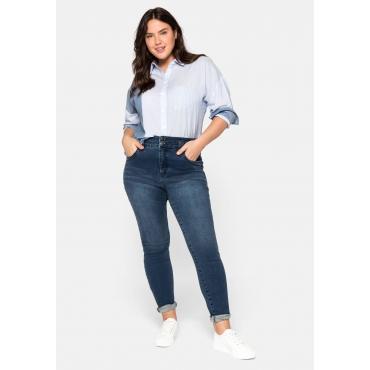 Skinny Jeans mit High-Waist-Bund, Bodyforming-Effekt, dark blue Denim, Gr.44-58