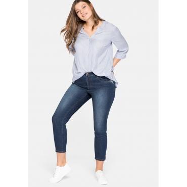 Skinny Jeans mit kontrastfarbenen Details, nachhaltig, dark blue Denim, Gr.44-58