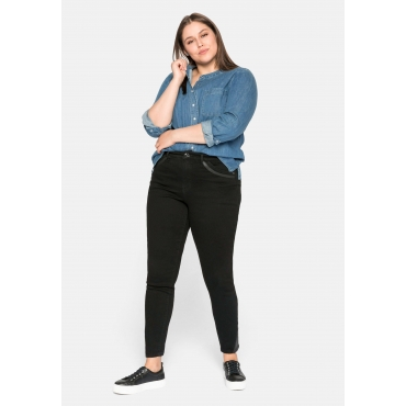 Skinny Jeans mit Kunstleder-Applikationen, black Denim, Gr.44-58