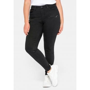 Skinny Jeans mit Teilungsnähten und Formbund, black Denim, Gr.44-58