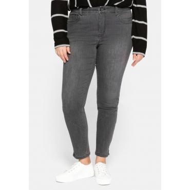 Skinny Jeans mit Teilungsnähten und Schlitz am Saum, grey Denim, Gr.44-58