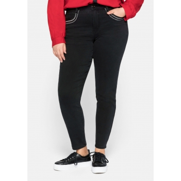 Skinny Jeans mit verzierten Taschen, elastisch, black Denim, Gr.44-58