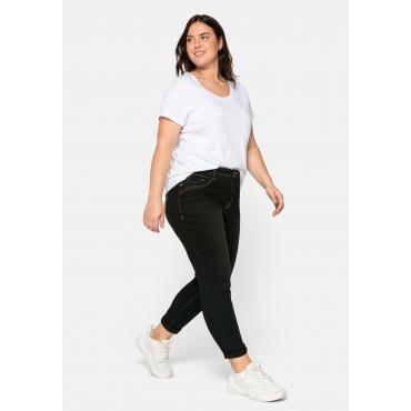 Skinny Jeans VERENA mit Schmucknieten, black Denim, Gr.44-58
