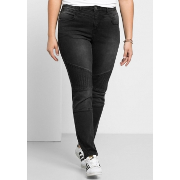 Große Größen: Skinny Power-Stretch-Jeans im Biker-Look, black Denim, Gr.21-116
