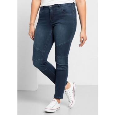 Große Größen: Skinny Power-Stretch-Jeans im Biker-Look, dark blue Denim, Gr.21-104