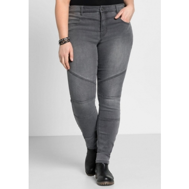 Große Größen: Skinny Power-Stretch-Jeans im Biker-Look, grey Denim, Gr.22-116
