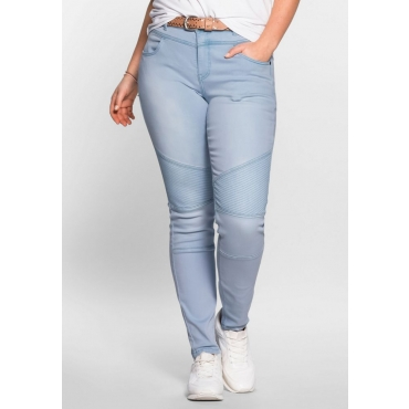 Große Größen: Skinny Power-Stretch-Jeans im Biker-Look, light blue Denim, Gr.21-116