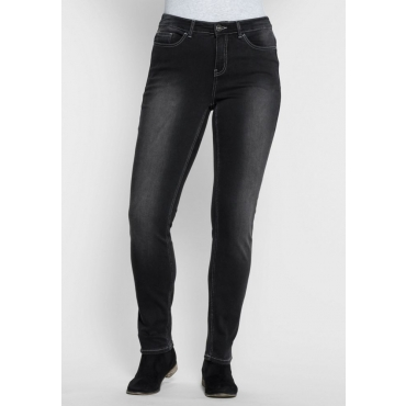 Große Größen: Skinny Power-Stretch-Jeans in 5-Pocket-Form, black Denim, Gr.21-104