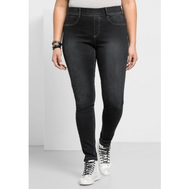 Große Größen: Skinny Power-Stretch-Jeans in 5-Pocket-Form, black Denim, Gr.21-116