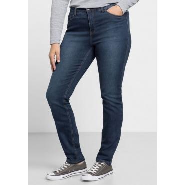 Große Größen: Skinny Power-Stretch-Jeans in 5-Pocket-Form, dark blue Denim, Gr.21-116