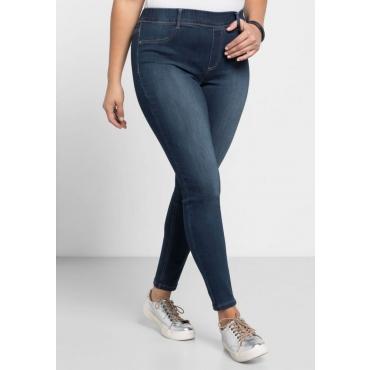 Große Größen: Skinny Power-Stretch-Jeans in 5-Pocket-Form, dark blue Denim, Gr.21-104