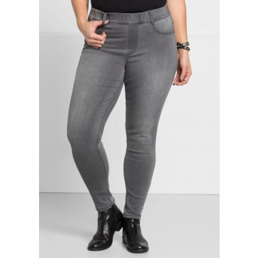 Große Größen: Skinny Power-Stretch-Jeans in 5-Pocket-Form, grey Denim, Gr.22-116