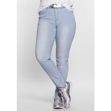 Große Größen: Skinny Power-Stretch-Jeans in 5-Pocket-Form, light blue Denim, Gr.21-104