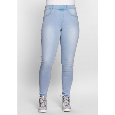 Große Größen: Skinny Power-Stretch-Jeans in 5-Pocket-Form, light blue Denim, Gr.21-116