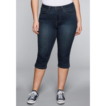 Große Größen: Skinny Power-Stretch-Jeans in Caprilänge, dark blue Denim, Gr.44-58