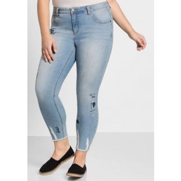 Große Größen: Skinny Power-Stretch-Jeans mit Comic-Druck, light blue Denim, Gr.44-58