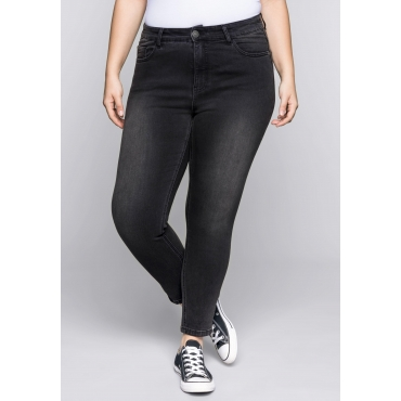 Große Größen: Skinny Power-Stretch-Jeans mit Zipper, black Denim, Gr.22-104