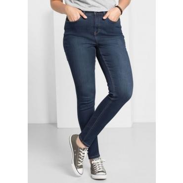 Große Größen: Skinny Power-Stretch-Jeans mit Zipper, dark blue Denim, Gr.22-104
