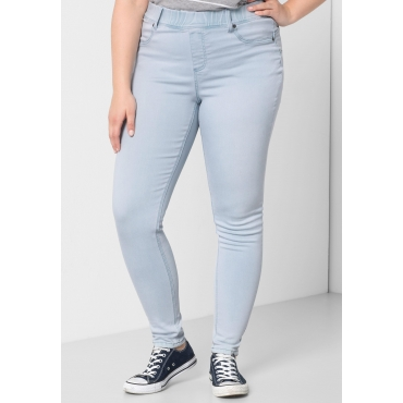 Große Größen: Skinny Power-Stretch-Jeggings mit Stretchbund, light blue Denim, Gr.44-58