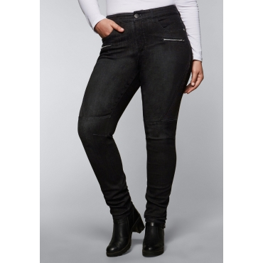 Skinny Stretch-Jeans in ultraflexibler Qualität, black Denim, Gr.44-58