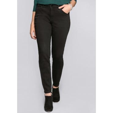 Große Größen: Skinny Stretch-Jeans mit Applikationen, black Denim, Gr.44-58
