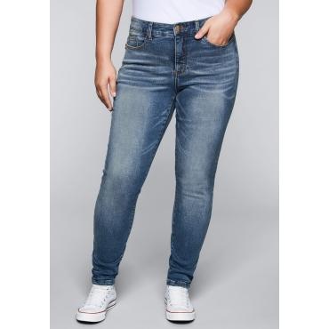 Große Größen: Skinny Stretch-Jeans mit Bodyforming-Effekt, blue Denim, Gr.22-104