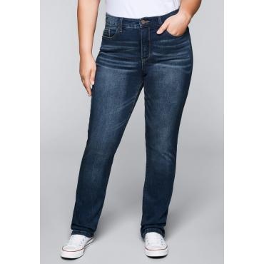 Große Größen: Gerade Stretch-Jeans mit Bodyforming-Effekt, dark blue Denim, Gr.22-104