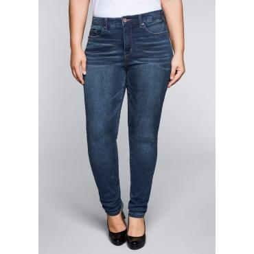 Große Größen: Skinny Stretch-Jeans mit Bodyforming-Effekt, dark blue Denim, Gr.22-104