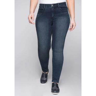 Große Größen: Skinny Stretch-Jeans mit Bodyforming-Effekt, dark blue Denim, Gr.44-58