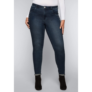 Große Größen: Skinny Stretch-Jeans mit Perlen, dark blue Denim, Gr.44-58