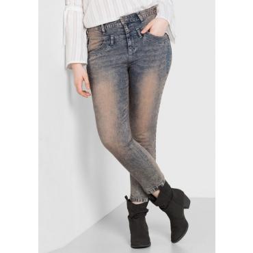 Große Größen: Skinny Stretch-Jeans mit Stickerei, blue Denim, Gr.44-58