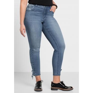 Große Größen: Skinny Stretch-Jeans mit Zierschnürung, blue Denim, Gr.40-58