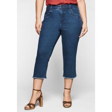 Slim Fit Jeans in 3/4-Länge, mit Fransen am Saum, blue Denim, Gr.44-58