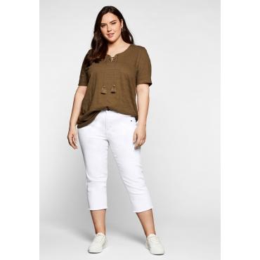Slim Fit Jeans in 3/4-Länge, mit Fransen am Saum, white Denim, Gr.40-58
