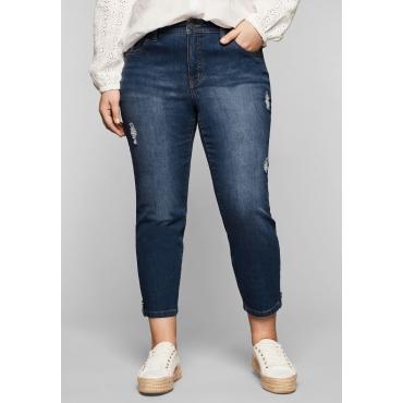 Slim Fit Jeans in 7/8-Länge mit Destroyed-Effekten, blue Denim, Gr.44-58