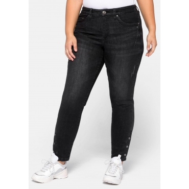 Slim Fit Jeans KIRA in Ankle-Länge, mit Knöpfen am Saum, black Denim, Gr.44-58
